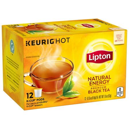 Premium Black Tea, Natural Energy, K-cup Single Serve, 12 Count (0.15oz Each) 1.8oz Box ()