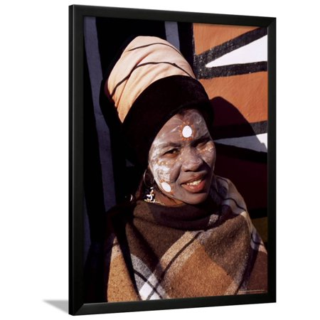 Buy Halloween Decorations South Africa (Portrait of a Woman with Facial Decoration, Cultural Village, Johannesburg, South Africa, Africa Framed Print Wall Art By Sergio)
