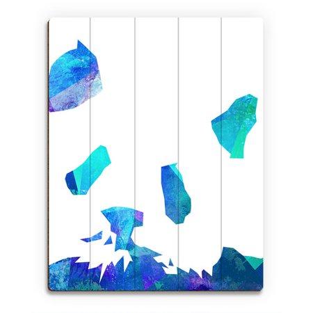 Click Wall Art Minimalist Panda   Blue Graphic Art On Plaque