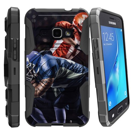 Case for Samsung Galaxy J1(J120) 2016 Only | Case for Express 3  [ Armor Reloaded ] Heavy Duty Case with Belt Clip & Kickstand Football Sports Collection