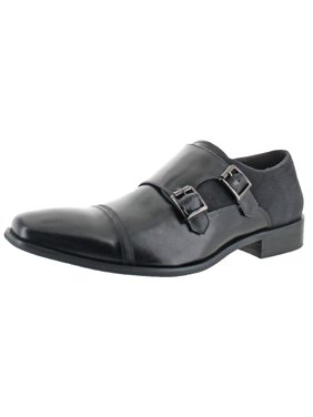 Kenneth Cole Reaction Mens Up In Smoke Leather Square Toe Monk Shoes