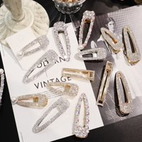 Korean Style Women Diamond Pearl Fashion Hairpin Bangs Clip Hair Ornaments Gold Short type