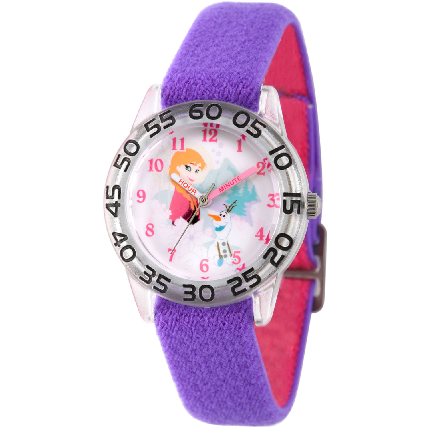 Frozen Olaf and Anna Girls' Clear Plastic Time Teacher Watch, Reversible Purple and Pink Nylon Strap