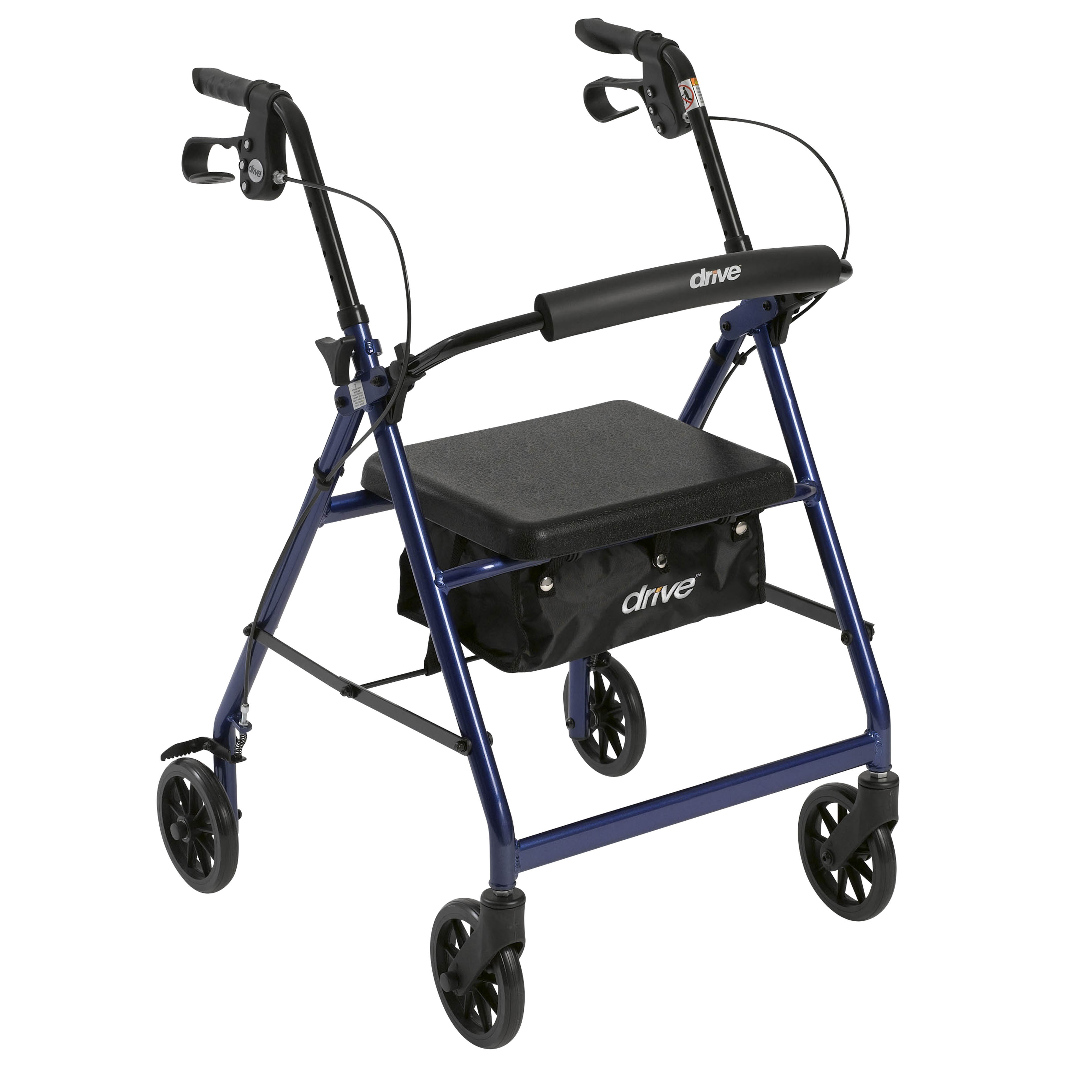 "Drive Medical Rollator Rolling Walker with 6"" Wheels, Fold Up Removable Back Support and Padded Seat, Blue"