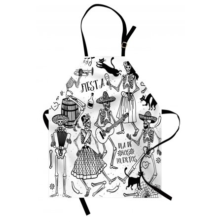 Mexican Apron Day of the Dead Dancers Themed Woman and Man Skeleton Icon Playing Music Design, Unisex Kitchen Bib Apron with Adjustable Neck for Cooking Baking Gardening, Black White, by Ambesonne