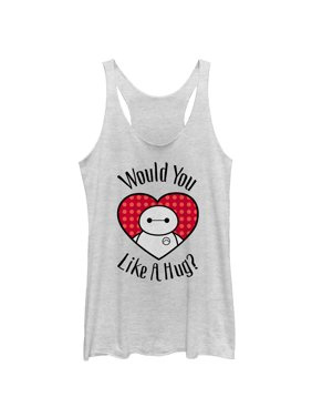 5843705bd Product Image Big Hero 6 Women's Valentine Baymax Likes Hug Racerback Tank  Top