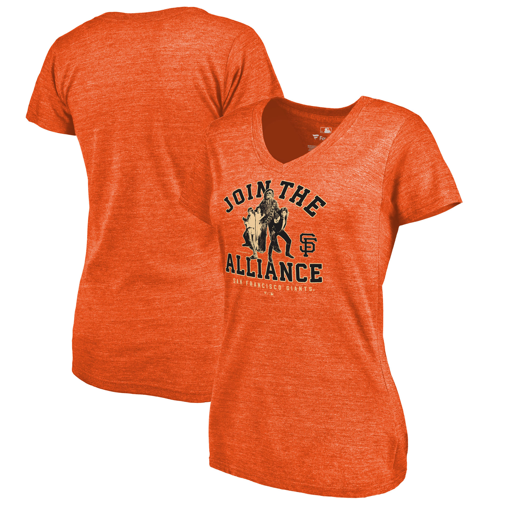 San Francisco Giants Fanatics Branded Women's MLB Star Wars Join The Alliance Tri-Blend V-Neck T-Shirt - Orange