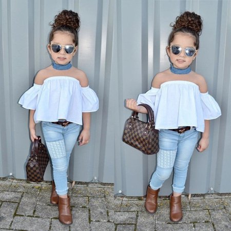 Kid Girls Clothing (Fashion Toddler Kids Baby Girls Outfits Off Shoulder Top Jeans Denim Pants Set Clothes)