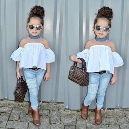 Fashion Toddler Kids Baby Girls Outfits Off Shoulder Top Jeans Denim Pants Set Clothes 0-5T - Denim Shirt Kids