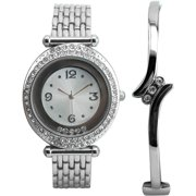 Women's Floating Stone Fashion Watch and Hinged Bangle Bracelet with Stones Gift Set, Silver-Tone