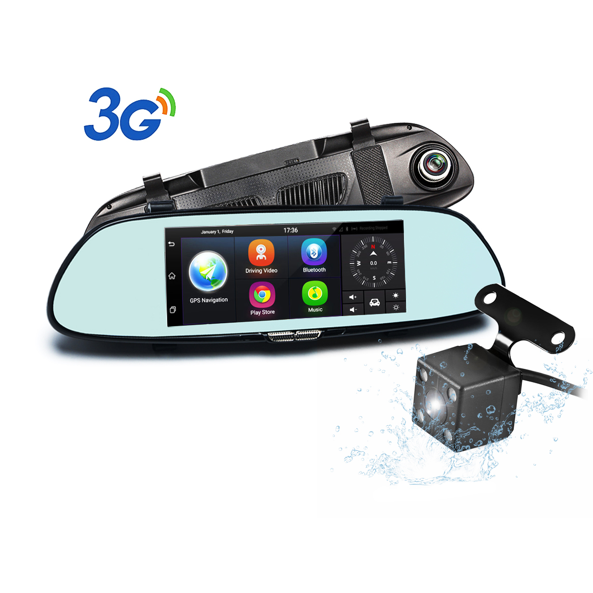 "Dual Lens Car Camera Podofo 7"" Android 5.0 GPS Navigation 3G Dash Cam Rear View Mirror Backup Camera Vehicle Video Recorder, WiFi, Bluetooth, Touch Screen"