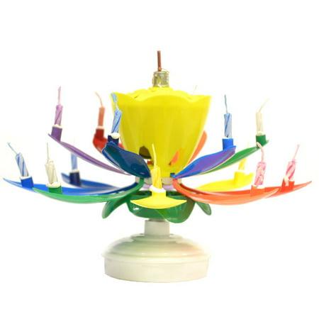 1 Pc Musical Flower Birthday Candles Rainbow Yellow Bud