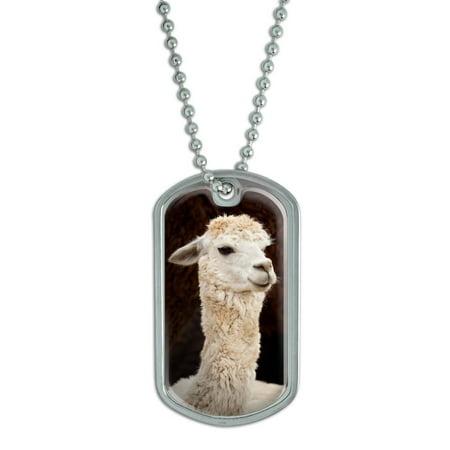 White Llama Dog Tag - Llama Jewelry