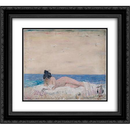 William Orpen 2x Matted 24x20 Black Ornate Framed Art Print 'Nude Female Model (Reading On The Seashore) 1930'
