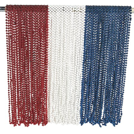 Fun Express - Patriotic Rwb Bead Asst for Fourth of July - Jewelry - Mardi Gras Beads - Mot Round - Fourth of July - 144