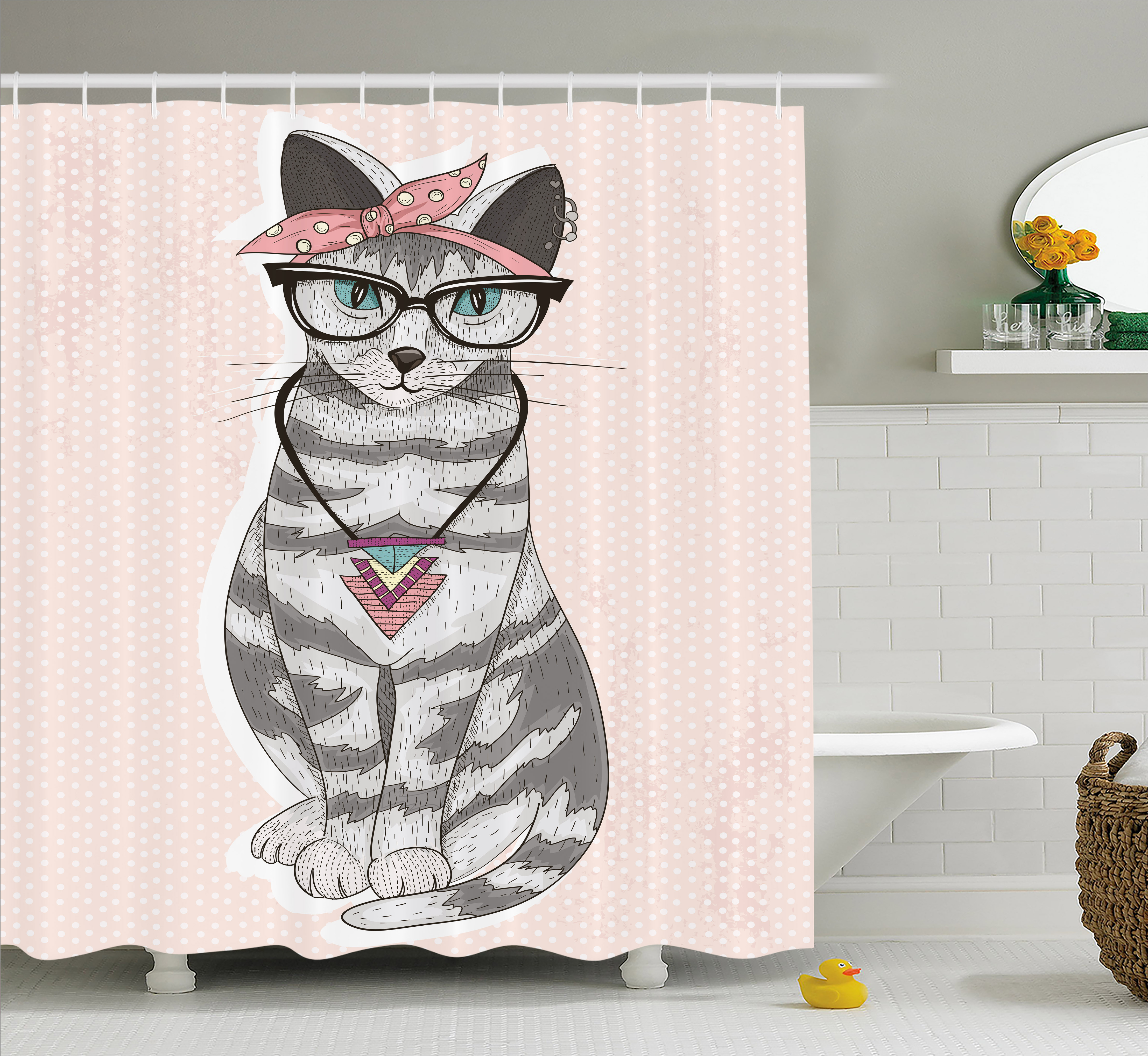 Teen Room Decor Shower Curtain, Stylish Kitty Cat with Gl...