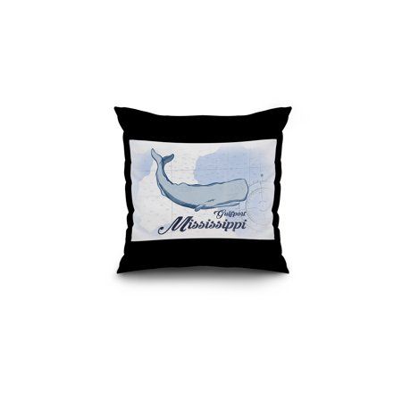 Gulfport  Mississippi   Whale   Blue   Coastal Icon   Lantern Press Artwork  16X16 Spun Polyester Pillow  Black Border