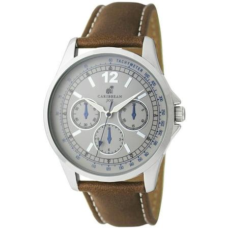 Caribbean Joe Mens Silver Tone Chrome Brown Strap Watch One Size Brown/silver (Joe Browns Size 20)