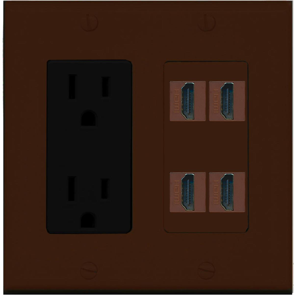 Fantastic Riteav Power Outlet 4 Hdmi Wall Plate Brown Walmart Com Wiring Database Ilarigelartorg