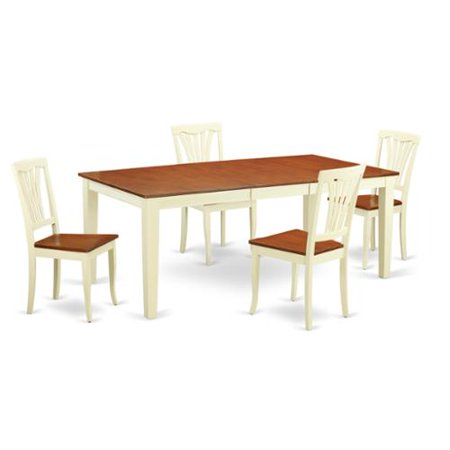 East West Furniture Traditional White Finish Solid Rubberwood 5 Piece Dining Set With Quincy