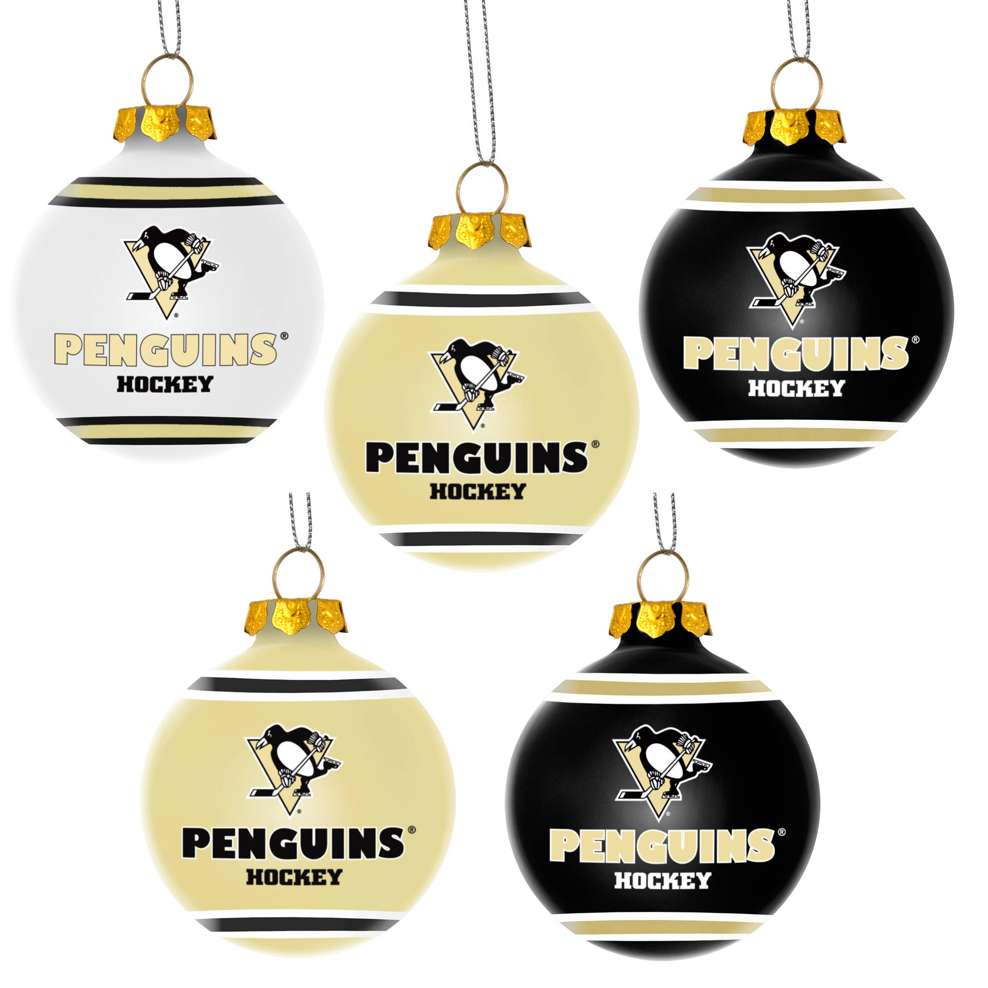 Forever Collectibles NHL 5-Pack Shatterproof Ball Ornaments, Pittsburgh Penguins