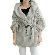 Women's Hooded Long Sleeve Bathrobe Style Plush Coat Gray (Size L / 12)