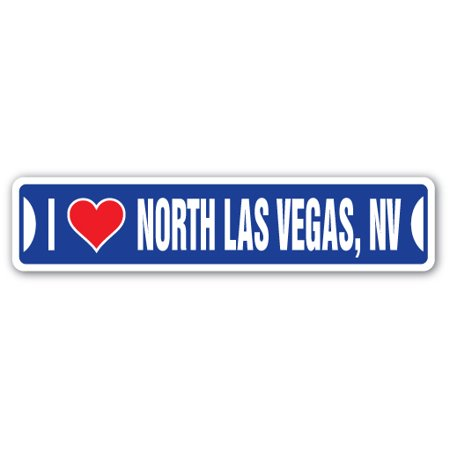 I LOVE NORTH LAS VEGAS, NEVADA Street Sign nv city state us wall road décor gift