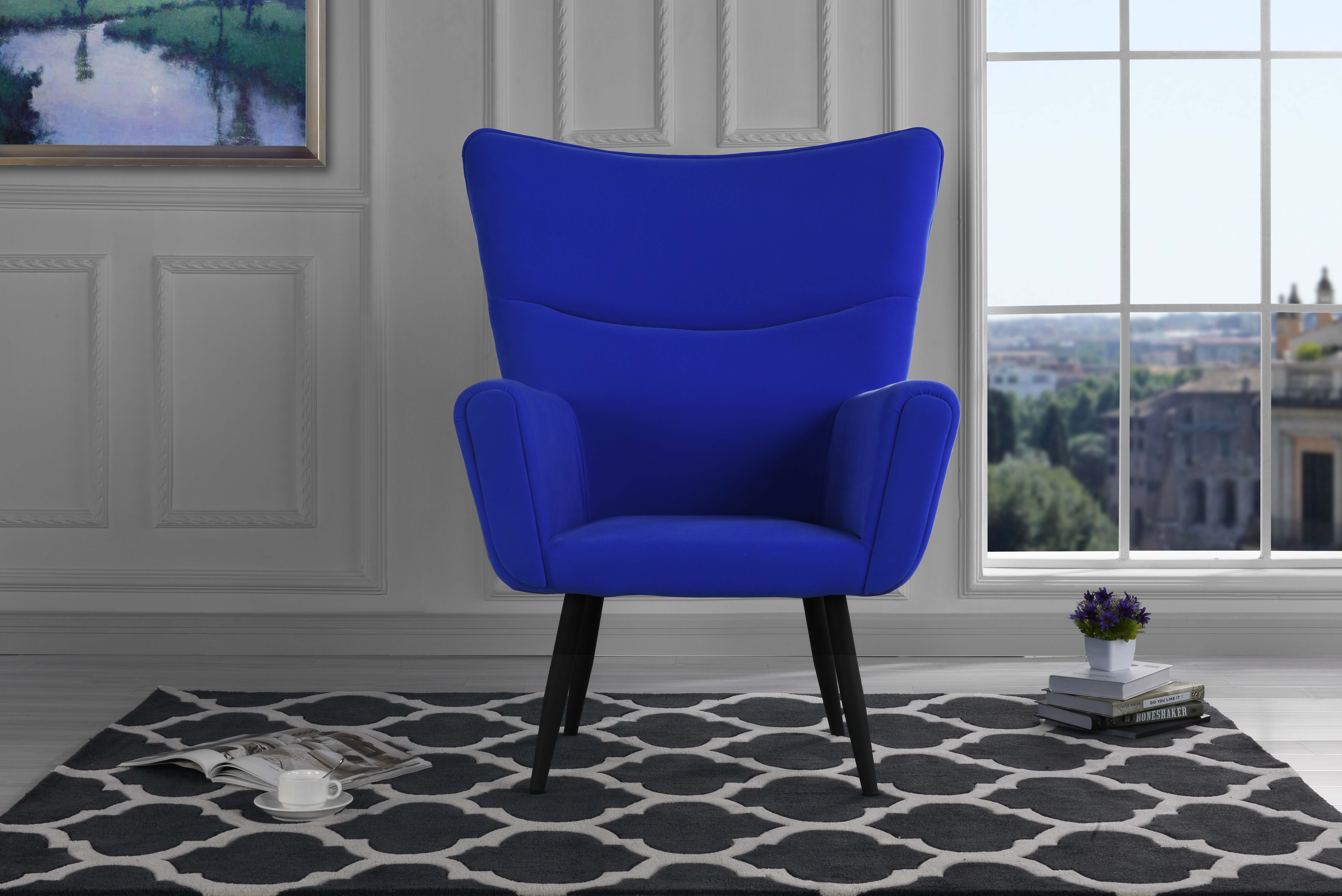Mid-Century Velvet Living Room Shelter Style Accent Armchair, Black by