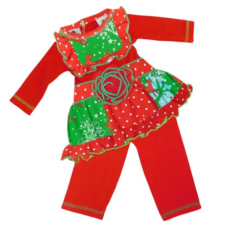 AnnLoren Red Reindeer Christmas Holiday 2 Piece Outfit For Dolls ()