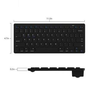 56886cd7e9e Jelly Comb Universal Bluetooth Keyboard Ultra Slim for Windows Android iOS  PC Tablet Smartphone, Black