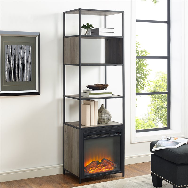 Walker Edison 70 Metal and Wood Tower Fireplace - Grey Wash