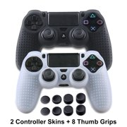 PS4 Controller Silicone Skins - DualShock 4 Covers Anti-slip Thumb Grip Protector Skin Case Set for Sony PS4, PS4 Slim, PS4 Pro - 2 Pack PS4 Accessories- 4 Pairs PS4 Thumb Grips - Black & White