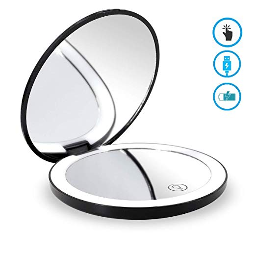 """Glam Hobby LED Lighted Travel Makeup Mirror, 1x/7x Magnification - Daylight LED, Touch button, Dimmable, Compact, Portable, USB Chargeable battery operarted, Large 4 1/2"""" Wide Folding Mirror(black)"""