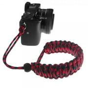 FoRapid Braided 550 Paracord Adjustable Camera Wrist Strap / Bracelet for Mirrorless Compact System DSLR Cameras, Binoculars (Red/Black)
