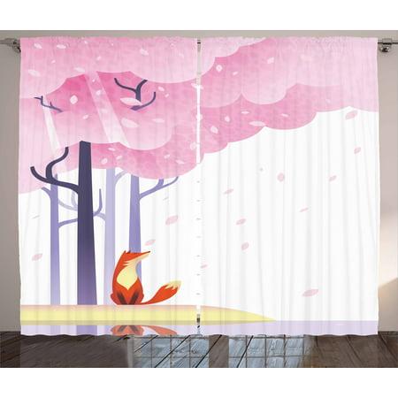 Fox Curtains 2 Panels Set, Spring Inspired Composition Pink Sakura ...