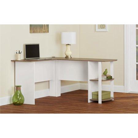 Ameriwood L-Shaped Office Desk with Side Storage, White/Sonoma Oak Finish