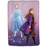"Disney's Frozen 2 Kids Plush Blanket, 62"" x 90"", Elsa & Anna Swirling Leaves"