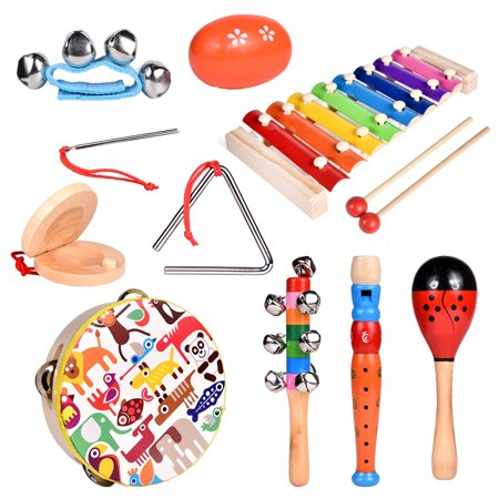 Toddler Musical Instrument Toy Set-12Pcs Wooden Percussion Toys Including Tambourine, Shaker Egg, Piccolo, Maracas and More for Kids Preschool Educational, Music Party Supplies F-209 - Wooden Maracas