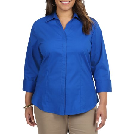 Women's Plus Size 3/4 Sleeve Classic Career Shirt (Womens Clothes Plus Size)