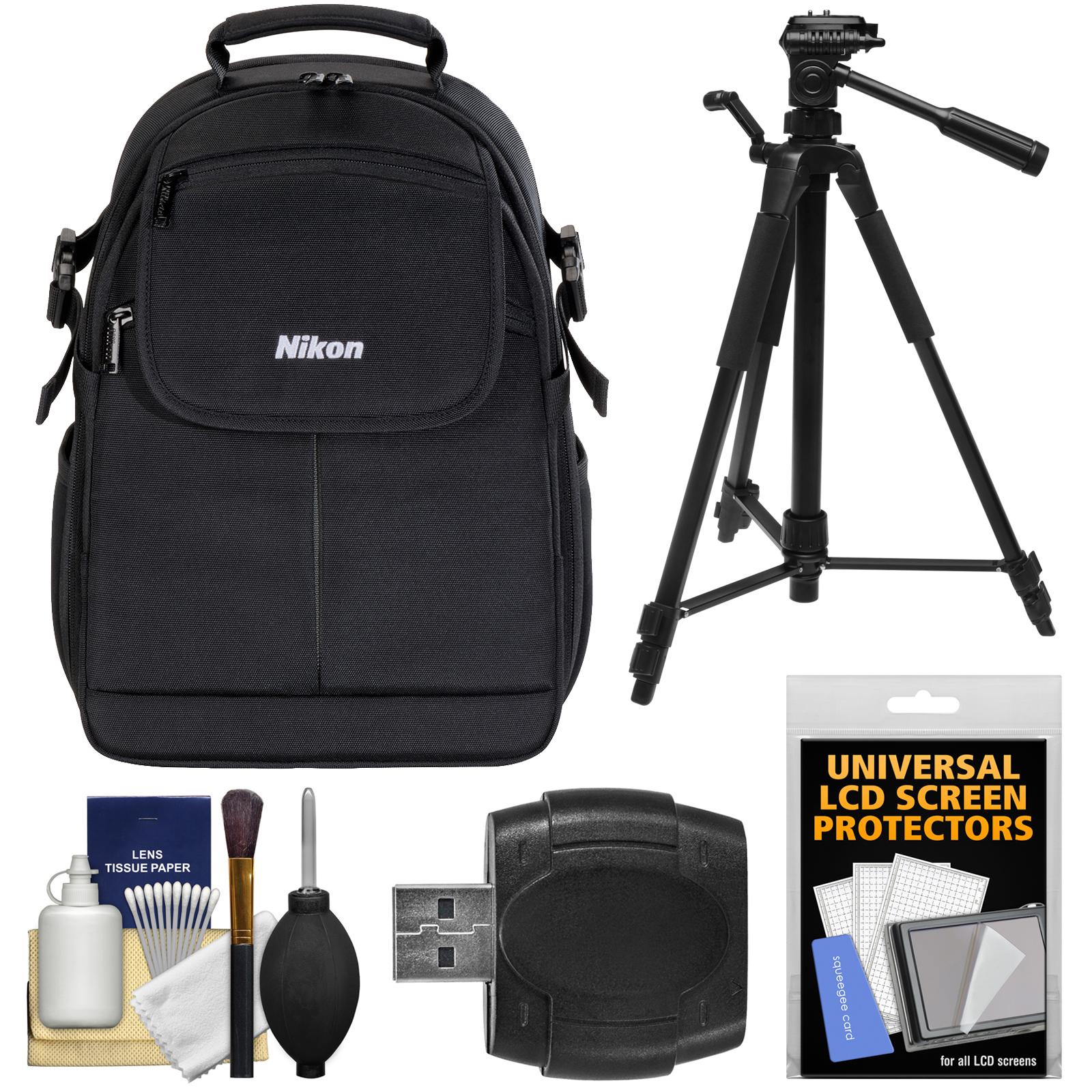 Nikon 17006 Compact DSLR Camera Backpack Case with Tripod + Kit for D3300, D3400, D5300, D5500, D7100, D7200, D610, D750, D810