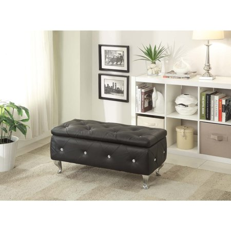 Pacific Heights Leather (AC Pacific Leather or Fabric Upholstered Tufted Storage Bench )