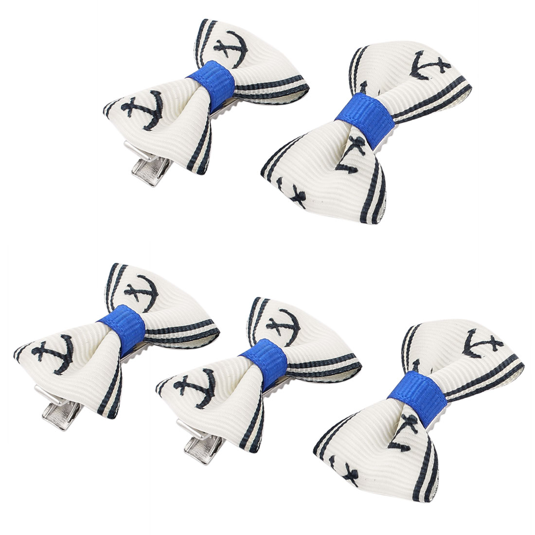 Pet Dog Boat Shaped Pattern Hair Grooming Hairpin Headdress Clip 5 Pcs Blue