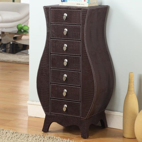 Casey Faux Croc Leather Jewelry Armoire