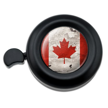 Rustic Distressed Canada Flag on Wood Bicycle Handlebar Bike Bell (Bell Mobility Canada)