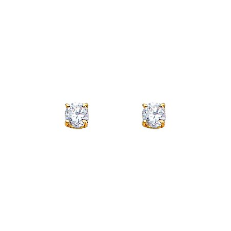 1/4CT Round Simulate Diamonds Solitaire Stud Screw Back Real Yellow 14k Solid Gold Basket Earrings ()