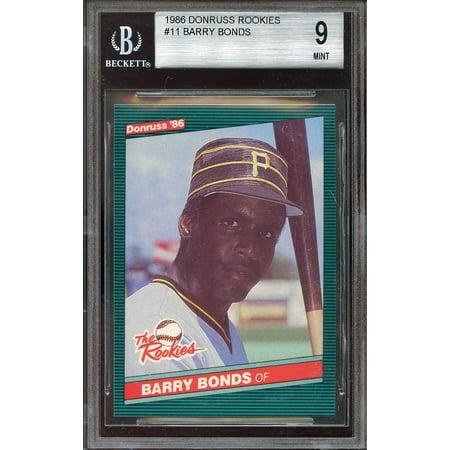 1986 donruss rookies #11 BARRY BONDS pittsburgh pirates rookie BGS 9 (9 8.5 9 9)