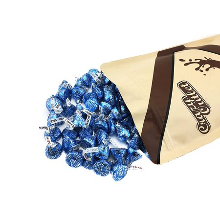Large Cookie Tin - CrazyOutlet Hershey's Kisses Cookies N' Creme Blue Foils Wrapping, 2 Pounds Bag