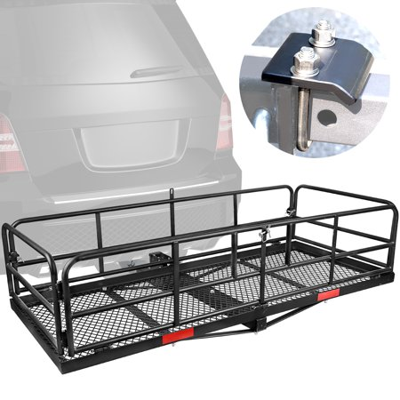 "Leader Accessories High Side Folding Trailer Hitch Mount Cargo Rack Carrier Luggage Basket 59""L x 24""W x 14''H with Anti-Rattle Stabilizer Fits 2"