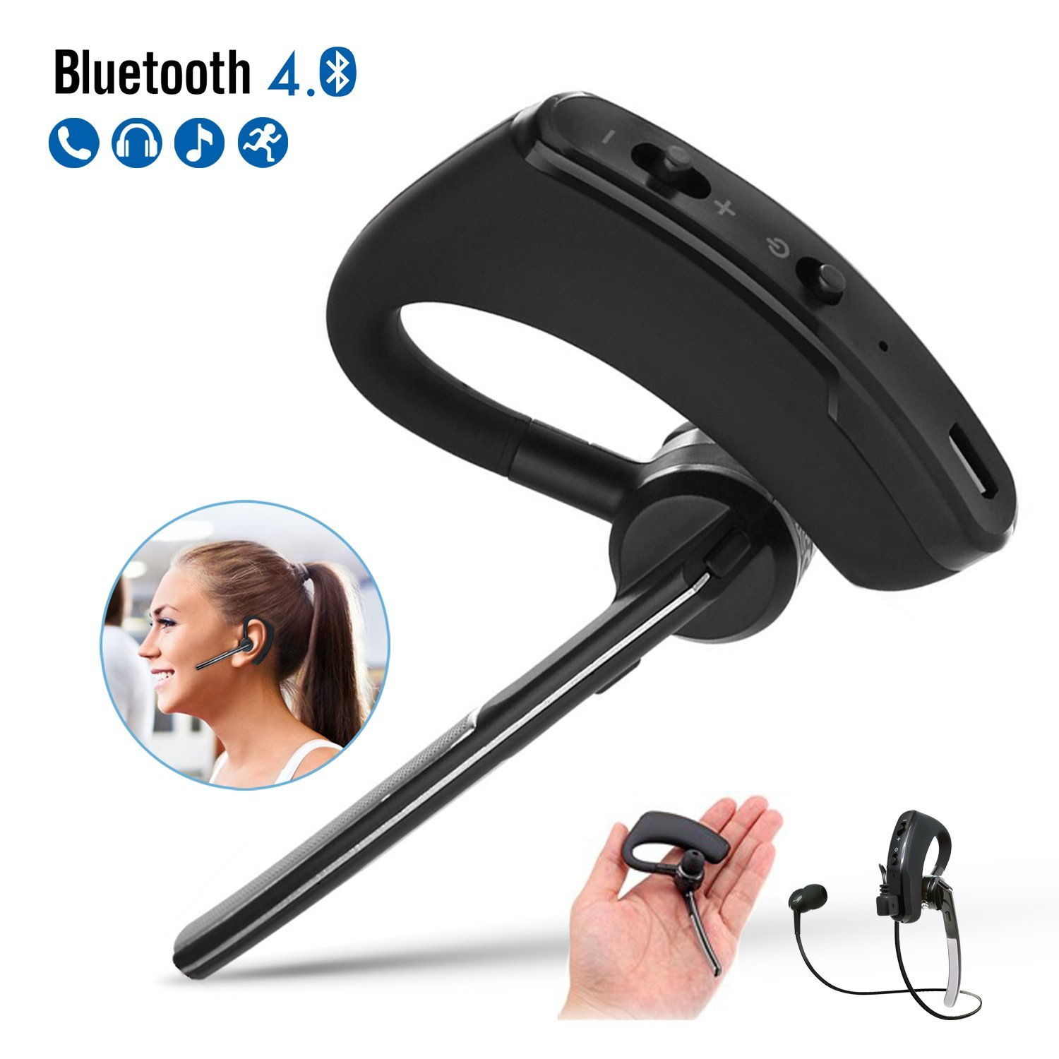 Costech Bluetooth Headphone, Wireless Bluetooth Headset Sweat Proof Earbuds Noise Isolating Sports Earphones Exercise/Running/Gym with Mic Stereo Sound for Apple Iphone, Samsung, Lg, Pc Laptop