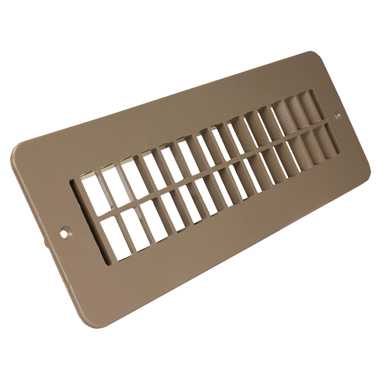 "JR Products 288-86-A-TN-A Plastic Undampered Floor Register - 2"" x 10"", Tan"